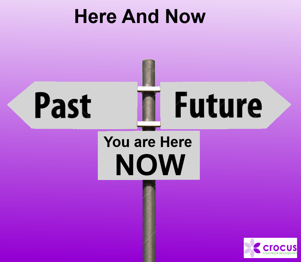 Here and now past present future sign post image